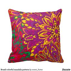 Brazil colorful mandala pattern pillow  #Home #decor #Room #Interior #decorating #Idea #Styles #Traditional #Boho #Indian #Vintage #floral #motif