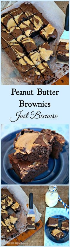 These Peanut Butter Brownies have a fudge base and a delicious swirl of peanut butter topping that folds into this decadent dessert! Everyone needs a good brownie recipe! The Foodie Affair #brownie #peanutbutter #recipe