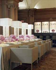 contemporary pink chic reception table