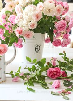 cutting the late August roses from the laughing with angels blog