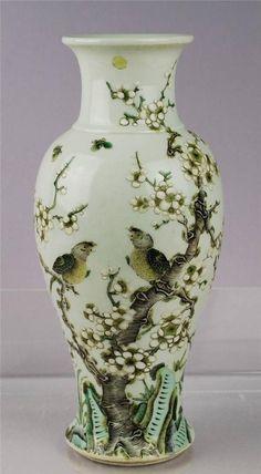 Birds and Plum Flower Decorated Famille Verte Vase Qing Kangxi Seal C 1900s | eBay