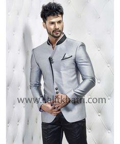 Grey & Black Jodhpuri Suit