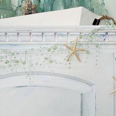 Beach decor beaded starfish garland in Aqua, perfect coastal decor, nautical decor, starfish decor, beach gifts, or coastal gifts! Nautical Christmas, Beach Christmas, Christmas Tree Themes, Seashell Garland, Beaded Garland, Beaded Starfish, Coastal Colors, Coastal Decor, Beach Gifts