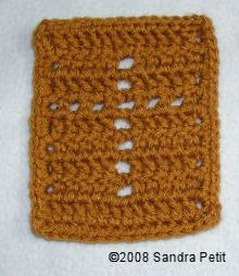 Crocheted Prayer Cloth With Cross Motif: could be used on a prayer shawl.
