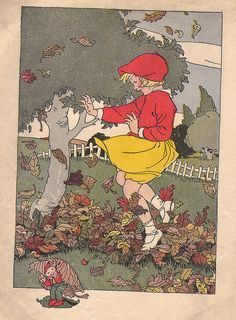 "Nan in Autumn from ""The Children's Own Readers ""Friends"" Primer"" by Mary E. Pennell and Alice M. Cusack, 1936, Kansas City, Missouri. Illustrator Marguerite Davis."