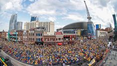 Pittsburgh, PA - June 11: A large crowd fills Broadway before the start of Game Six of the 2017 NHL Stanley Cup Final between Nashville Predators and the Pittsburgh Penguins at Bridgestone Arena on June 11, 2017 in Nashville, Tennessee.