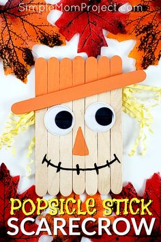Looking for a fun, DiY Fall or Halloween party decoration for kids to make? Click now for a cheap, popsicle stick Scarecrow craft tutorial. Do them with your preschoolers in the classroom or at home with your toddlers. This Halloween and Fall Scarecrow is Scarecrow Crafts, Halloween Arts And Crafts, Halloween Party Decor, Halloween Crafts For Kids To Make, Halloween Scarecrow, Scarecrows, Halloween Halloween, Vintage Halloween, Halloween Makeup