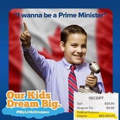 This little dreamer just wants the world to hear his voice and to make his country a better place. Do you have a little dreamer at home ready to run for office?  Share their dream with us for a chance to win a $5,000 RESP contribution.  See more at http://hubs.ly/H03DHyr0 (Note: Final tuition is a calculation based on historical figures. Full disclosures to be found at  http://hubs.ly/H03DHys0 #primeminister #kidsdreambig #mylittledreamer #inspiration #education #primeminister…