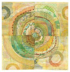 paper and fabric collage circles jane lafazio