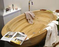 SUN Wooden Bathtub Mod by e-legno Group Italy Wood Bathtub, Wooden Bathroom, Bathroom Furniture, Bathroom Ideas, Bathroom Designs, Japanese Bathtub, Dream Beach Houses, Wood Creations, Home Automation