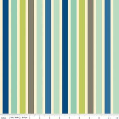 8 35 Blue Grey And Green Stripe Fabric Seaside By October Afternoon For Riley Blake