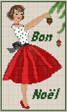 Free Christmas pattern from gazette94 - Mom decorating Xmas tree