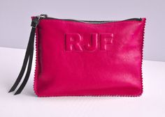 Pop Pink Leather Clutch, Leather Pouch, Leather Monogram, Leather carryall, custom handmade to order with Initials