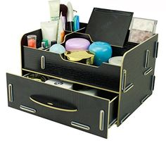 Menu Life Large Office Desk Storage Boxes Lady Jewellery Storage Boxes Wooden Desk Organiser Drawers DIY Cosmetic Make up Removable Collection Organizer Jewelry Storage (Black) Menu Life