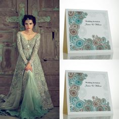 Asian wedding invitations. Green and gold wedding colour scheme.