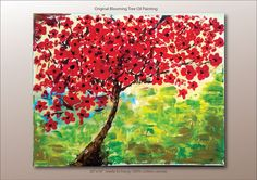 Original Oil Painting Contemporary Red Blooming Tree by PauGallery. This piece is so pretty! And It matches all my red living room stuff...