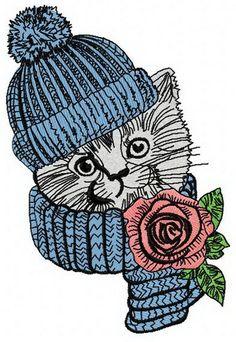 Pretty kitten 3 machine embroidery design. Machine embroidery design. www.embroideres.com