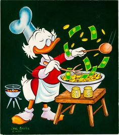 """""""The very first Uncle Scrooge painting."""" Original hand-painted cover art by Carl Barks from Uncle Scrooge published by Western Publishing, July Art Disney, Disney Duck, Disney Love, Disney Magic, Famous Cartoons, Disney Cartoons, Le Sniper, Retirement Decorations, Holy Saturday"""