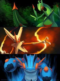 Mega Hoenn Starters by arkeis-pokemon.deviantart.com on @deviantART (Mega Sceptile, Mega Blaziken & Mega Swampert)