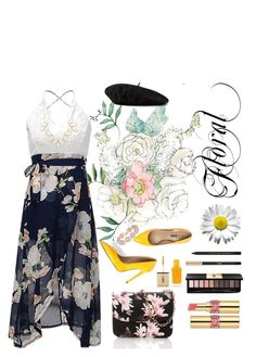 """""""Floral Print~"""" by j-laluna ❤ liked on Polyvore featuring Yves Saint Laurent, Gucci, BaubleBar, Charlotte Russe and Floralskirts"""