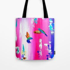 hummingbird print, hummingbirds print, print with 2 birds, print with 2 hummingbirds, pink bag, gym bag, beach bag, yoga bag, pilates bag,