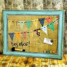 Magnetic Board, Dry Erase, Dorm Decor, Magnet Board, Summer Trends 2014, Framed Board, Message Board, Memory Board, Burlap Board, Bunting on Etsy, $49.99