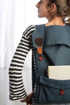 A roomy laptop backpack with crafty details. #EtsyIsrael