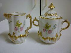 Vintage Limoges France PHL Creamer and Sugar Bowl Set Pink Floral w/ Gold
