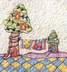 Periwinkle Lane - Block 12 Embroidery Pattern by Black Cat Creations - Jackie Theriot. BOM embroidery and crayon pattern of two tree houses. Hand Embroidery Patterns Free, Embroidery Sampler, Vintage Embroidery, Machine Embroidery Designs, Fabric Painting, Quilting Designs, Quilting Ideas, Quilt Patterns, Vintage Style