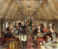 PULLMAN: DINING CAR, 1877. Dining at twenty miles an hour west of Chicago in a Pullman hotel car of the transcontinental railroad. Color engraving, 1877.