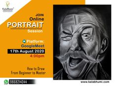 Online Portrait Classes 2020🎨 Kalabhumi Arts Learn   👉How to Draw From Beginner to Master 👉Portrait Drawing Fundamentals Made Simple 👉Achieve 100% success in drawing lifelike Portraits & many more...  Platform Google Meet  Date: 17th August 2020 Timing: 4:00pm  Join us  show your interest  Call @ 📞9868214044  For Details Learn To Draw, Join, Platform, Success, Meet, Portraits, Drawings, Simple, Google