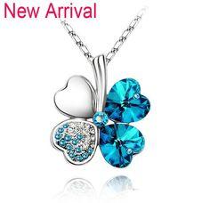 Austrian Crystal Four Leaf Clover Rhinestone Necklace