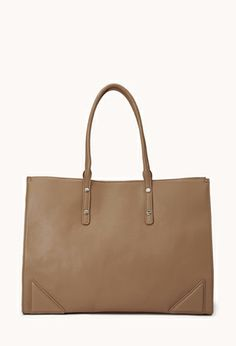 Sleek Faux Leather Tote | FOREVER21 - 1000110046#WishPinWin #ForeverHoliday