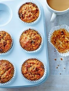 Apple and Carrot Muffins from Annabel Karmel's Family Cookbook. Here is a healthy and deliciously moist muffin that's boundto become a family favourite. These muffins are very easy tomake and will keep well for up to five days.