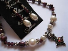 Cranberry Red Garnets and Pearl pendant necklace Set