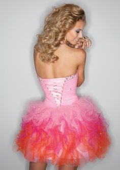 Pink Ombre Short Corset Tulle Prom Dress - Sticks and Stones Mori Lee 9199 - RissyRoos.com
