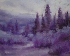 Painting my World: Purple Mountains Majesty .a monochromatic painting Monochrome Painting, Monochromatic Art, Watercolor Landscape, Landscape Paintings, Landscapes, Monocromatic Painting, Paintings For Sale, Original Paintings, Tree Paintings