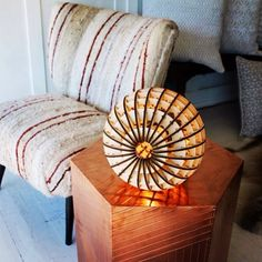Copper amazing, retro globe light can be a table lamp or a pendant & the chair...