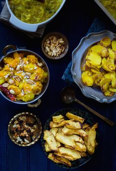 Khichdi side dishes – Butternut squash with coconut and peanuts, Fried Acorn Squash, and Potato Fries : Fall Recipes : Storyofcooks : Food Photography