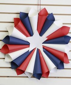 patriotic wreaths that will fill you with pride, crafts, seasonal holiday decor, wreaths, Paper Rolled Red White and Blue Memorial Day Decorations, Memorial Day Wreaths, 4th Of July Decorations, Birthday Decorations, Fourth Of July Decor, 4th Of July Party, July 4th, Patriotic Crafts, Patriotic Wreath
