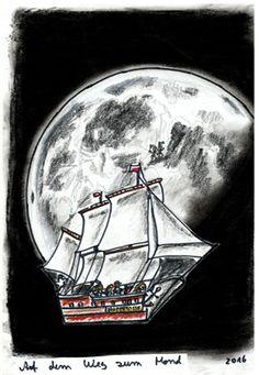"""Zwei der gesuchten Ritter hat es auf den Mond verschlagen. Deshalb muss also die """"Hoppetosse"""" dorthin fliegen, um sie abzuholen. ...... Unsere Mutter hat früher oft geschimpft, denjenigen würde sie auf den Mond schicken. Daher die Idee. Inzwischen muss allerdings auf den Mars ausgewichen werden, der Mond ist voll ;-)  ....... Zeichnungen aus dem zweiten Kinderbuch von Michael Klüter """"Der Kleine Ritter und das Abenteuer geht weiter"""", welches demnächst bei Amazon erscheinen wird."""