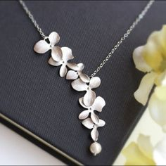 Last One!Silver Orchid Necklace And Chain