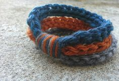 Handmade Crocheted Tri Color Stacked Bracelet by knotyourgrandma, $6.00 My Etsy Shop, Bracelets, Handmade, Color, Jewelry, Bangles, Colour, Hand Made, Jewlery