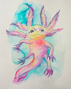 Check out this item in my Etsy shop https://www.etsy.com/listing/502157933/baby-axolotl-original-watercolor