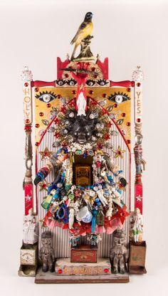 Vanessa German Textile Sculpture, Sculpture Art, Concept Art Gallery, Junk Art, Assemblage Art, Naive Art, Weird Art, Outsider Art, Clay Projects