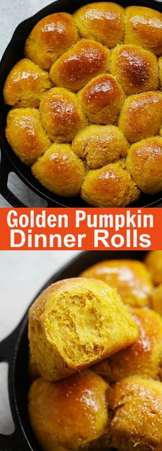 Pumpkin Dinner Rolls – easiest and best homemade pumpkin dinner rolls on skillet. So soft and pillowy you just can't stop eating | rasamalaysia.com