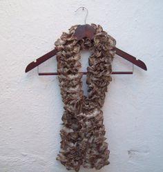 Soft Shawl Brown Knit Scarf by nurlu