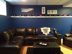 Toronto maple leaf man cave ! Leaf Man, Man Caves, Toronto Maple Leafs, Home Reno, Reno Ideas, Basement Ideas, Hockey, House Ideas, Organization