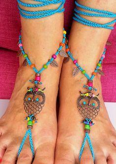 Boho blue crochet barefoot sandals with owl - http://www.amioamio.com/da/produkt/152091/