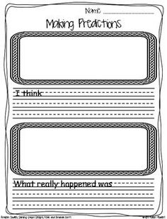 This is a simple predictions response sheet. Students make their predictions before reading the story and then write about what really happened after reading the story. Jennie JD's Rockin' Readers